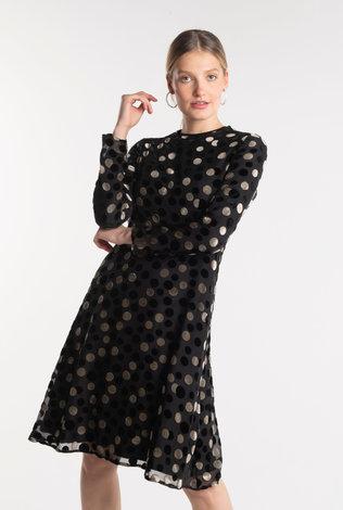 Deela Velour Polka Dress