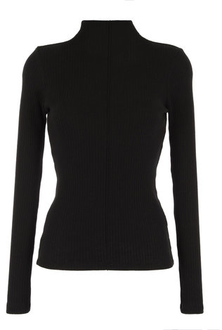 parni Wide Ribbed Turtleneck Black