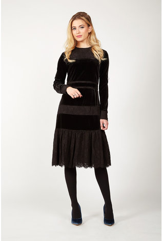 Maple and Cliff Velvet and Lace Contrast Dress