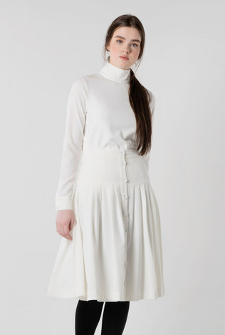 HoneySeed Pleated Button Skirt  Winter White