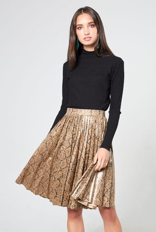 Third Third Leather Pleated Skirt