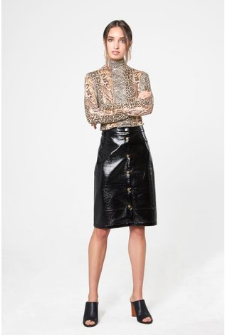 Third Third Leather Snap Skirt Black