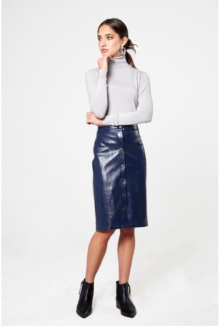 Third Third Leather Snap Skirt Navy