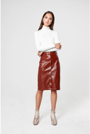 Third Third Leather Snap Skirt Brown Rust