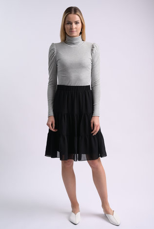 bliss Bliss Striped Turtleneck Gray/White