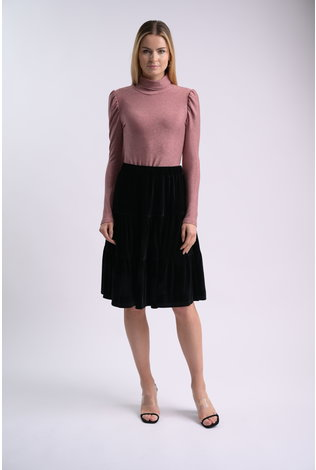 bliss Bliss Lurex Turtleneck Pink