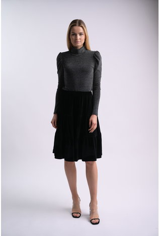 bliss Bliss Lurex Turtleneck Black/Silver