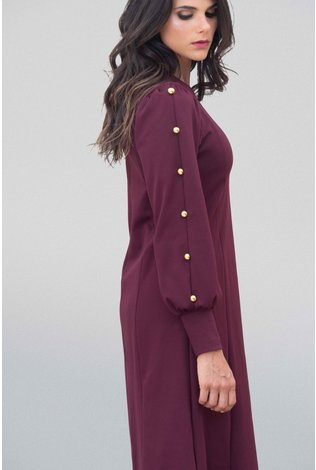 Go Couture Ponte Button Dress Merlot