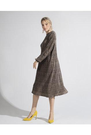 Deela Leopard Pleat Dress