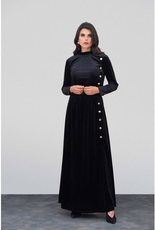 Go Couture Velvet Button Down Maxi