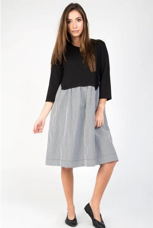 Static Stripe Bottom Swing Dress