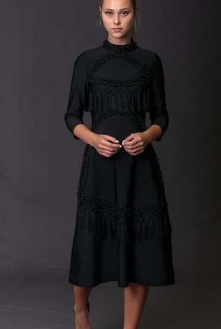 Front Row Couture Black Pearls Dress - 70% OFF!