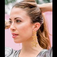 STELLA BRUSHED GOLD STAR EARRINGS