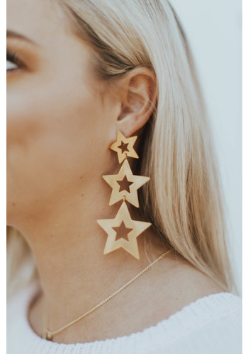 STELLA BRUSHED GOLD STAR EARRINGS