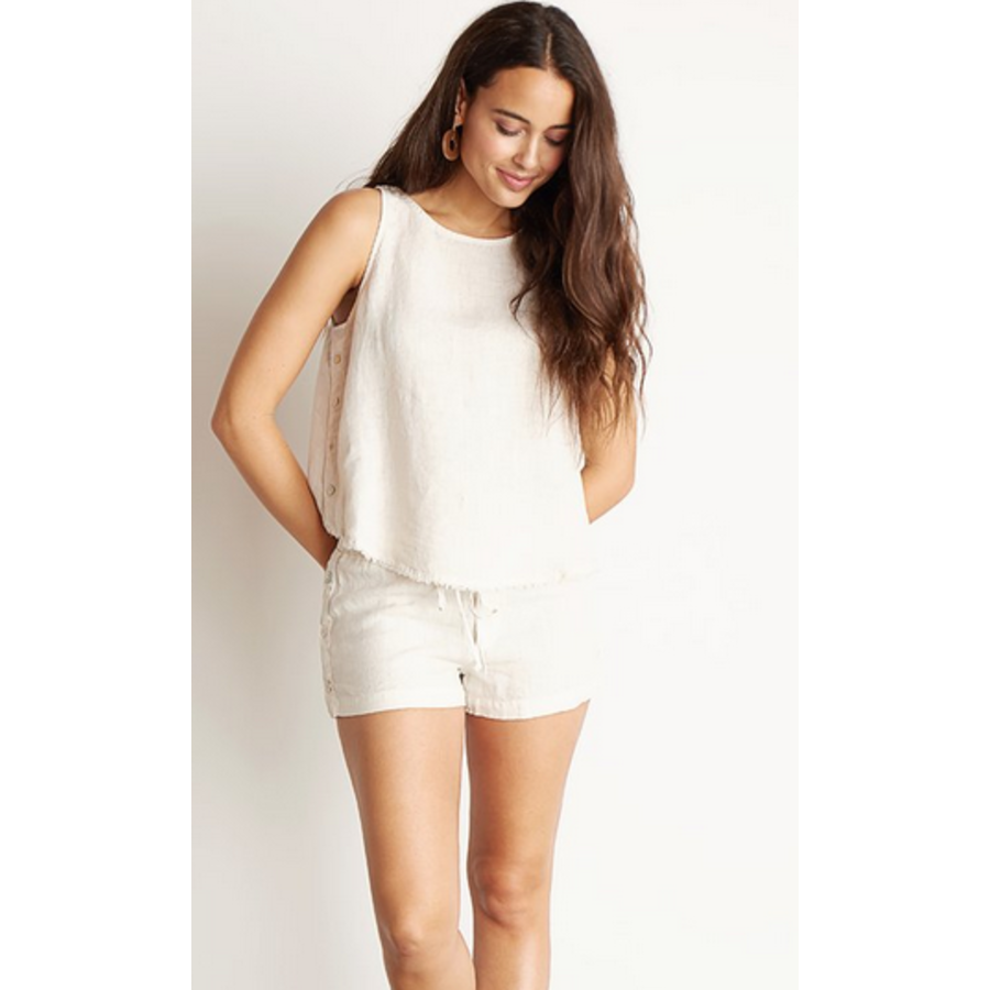 BUTTON SIDE FRAYED TANK