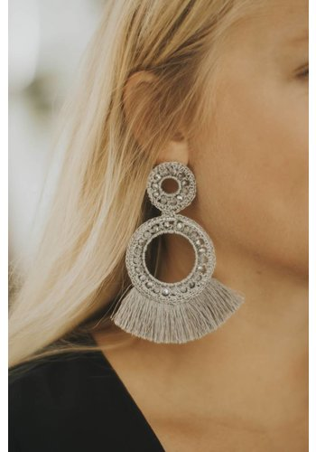 AUGUS CROCHET BEAD POST DROP EARRING SILVER