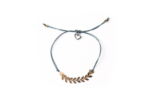 Bracelet LEAF fil et feuillage acier inox teal foncé