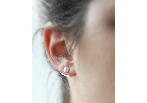 Ear jackets argent avec perle 4 mm