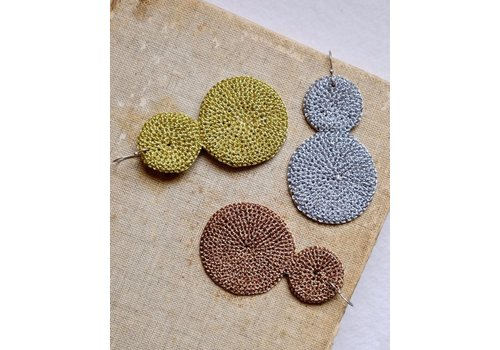 Skili Crochet Double Disc Earrings Silver
