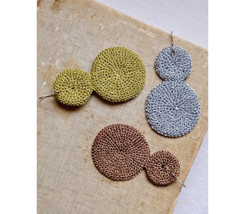 Skili Crochet Double Disc Earrings Bronze