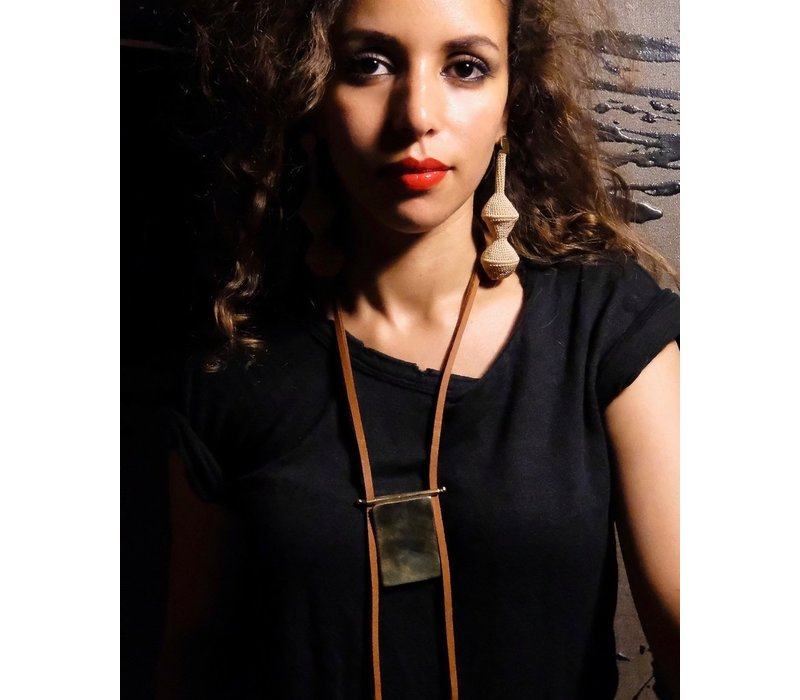 Kitab Pendant Necklace (Cognac Leather)