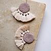 Crochet Disc Tassel Earrings Mink & Beige