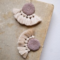 Crochet Disc Tassel Earrings Mink & Beige