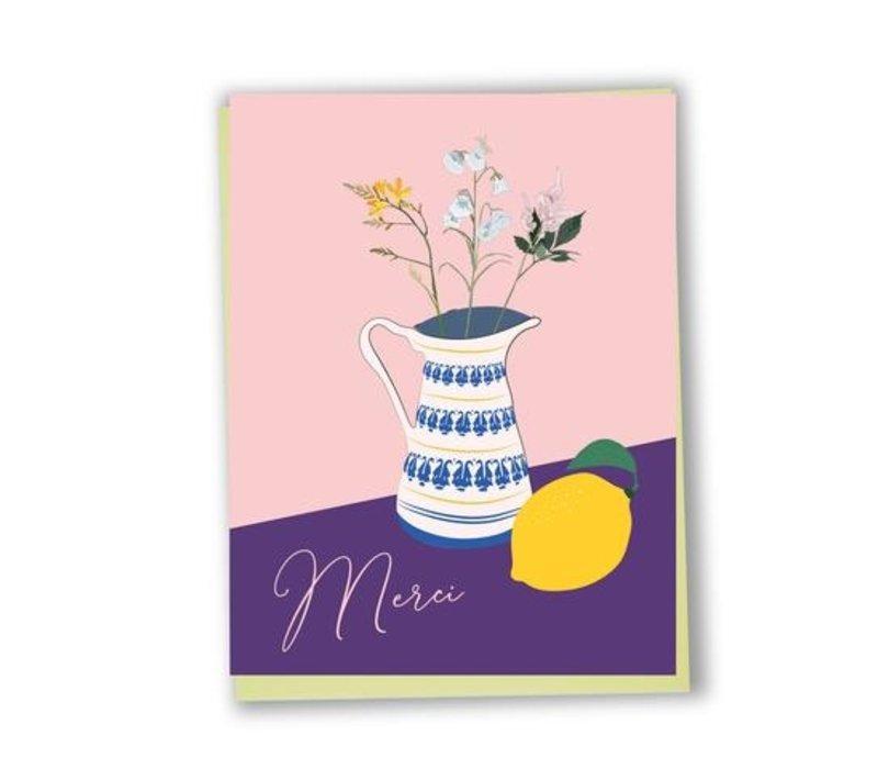 Merci fleurs & citron Card