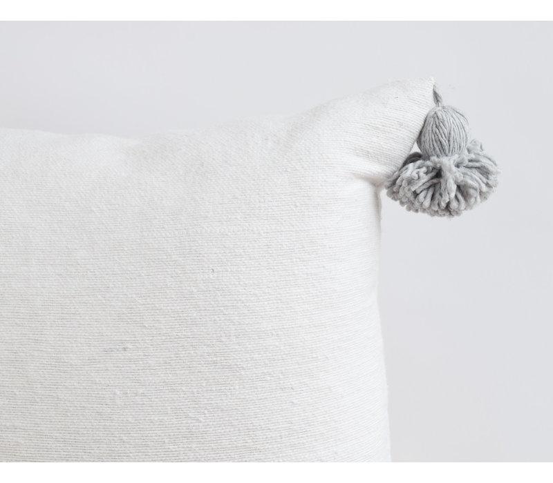 Coussin pompom blanc/gris
