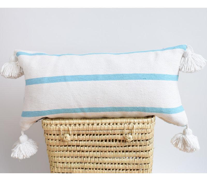 Pompom Pillow rect Turq/White