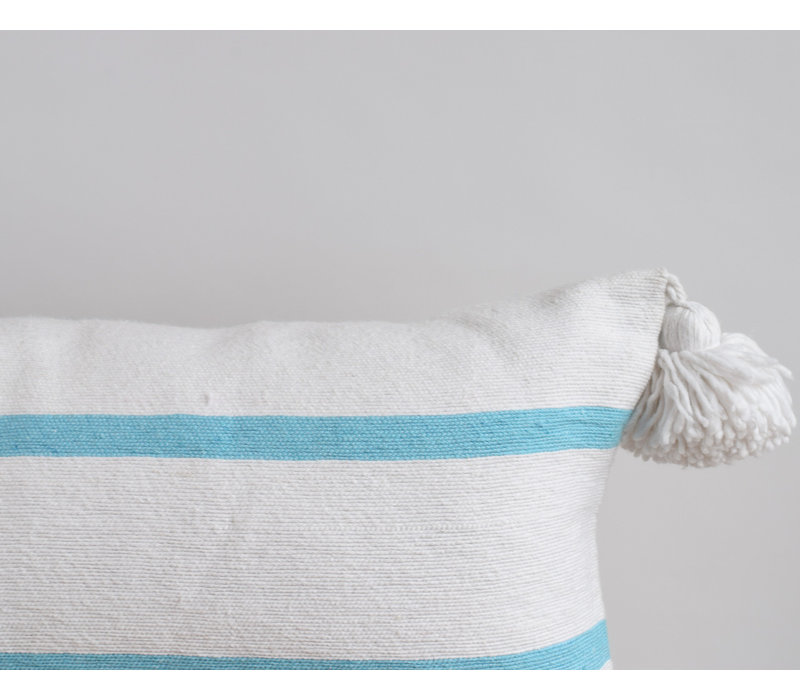 Coussin pompom rect turquoise