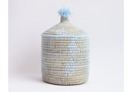 Panier Berbère M - bleu pastel/argent