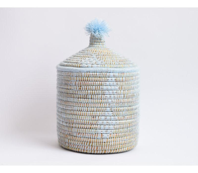 Panier Berbère fil argent - bleu pastel