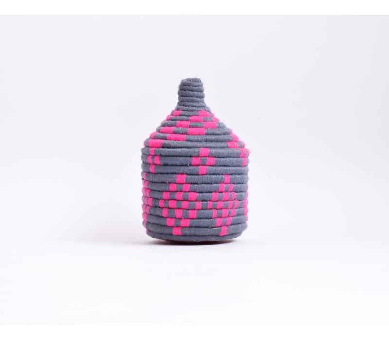 Berber Basket Wool - grey/hot pink