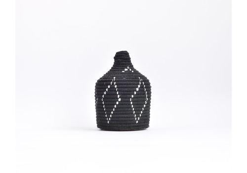 Panier Berbère Laine - noir/argent