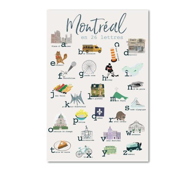 Print - Montreal in 26 letters 12x18