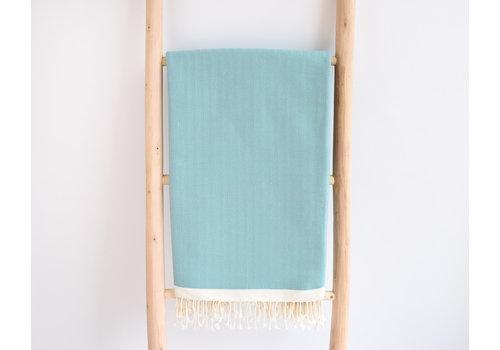 jete coton chevron turquoise doré