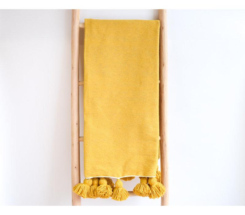 Pompom Blanket Mustard