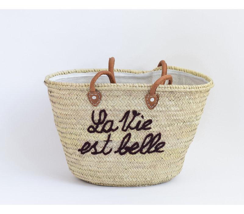 Straw basket la vie est belle - brown