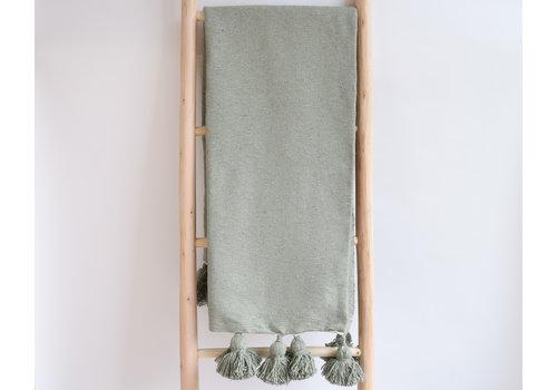 Couverture pompom khaki