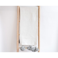 Couverture Pompom blanc/ p-gris
