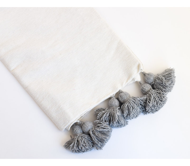 Pompom Blanket White/grey p.