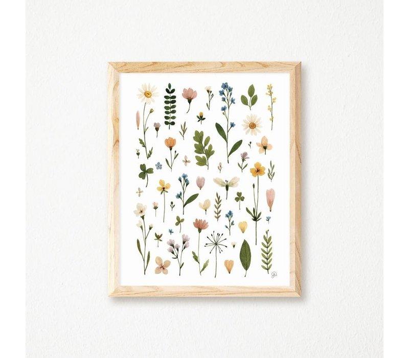 Pressed Flowers Herbarium Print 11x14
