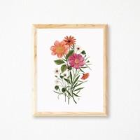 Affiche bouquet vintage