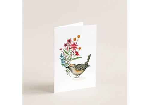 Carte oiseau & bouquet