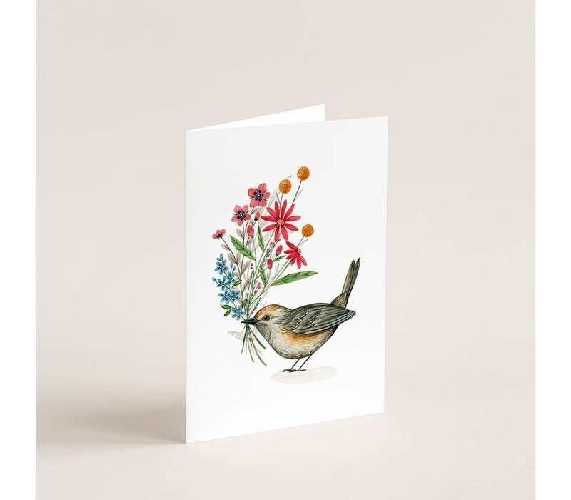 Carte Oiseau & bouquet floral