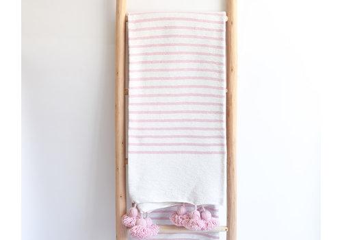 couverture pompom rayée rose
