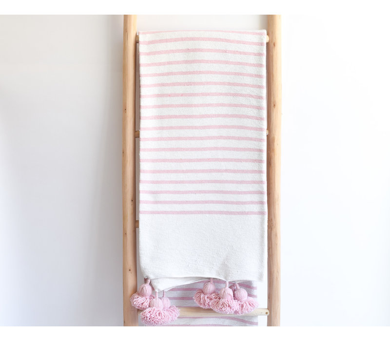 Pompom Blanket striped pink