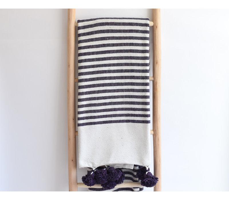 Pompom Blanket striped purple