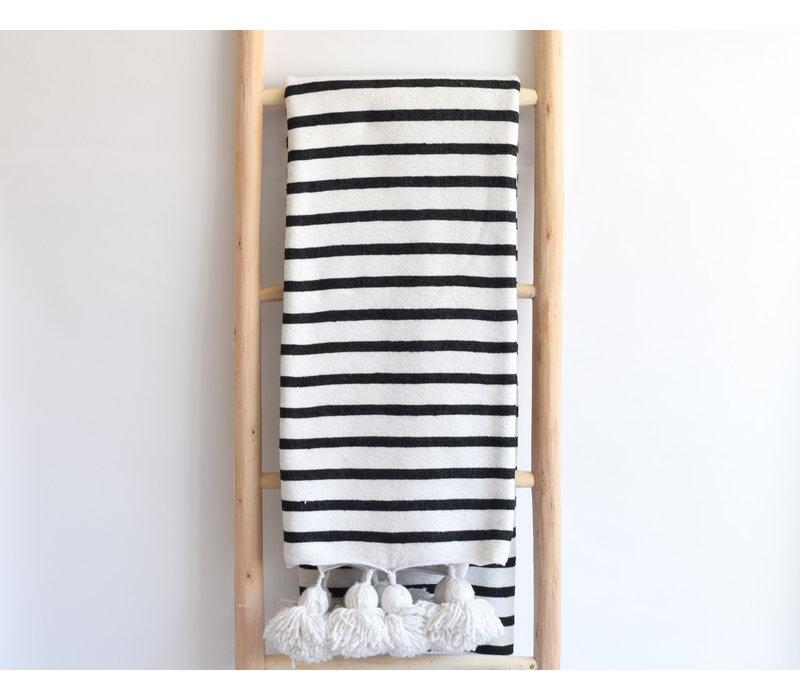 Pompom Blanket striped black
